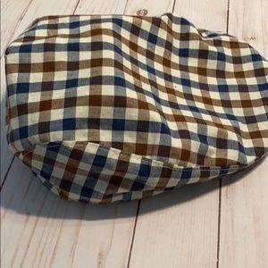 Old navy Blue brown plaid cabbie newsboy hat S/M